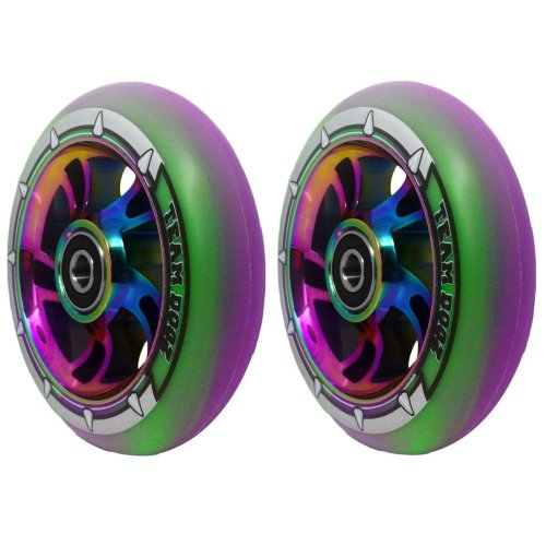 Pair Team Dogz Purple Green PU Rainbow 100mm Alloy Scooter Wheels