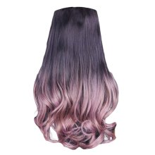 """One-piece Gradient Clip-on Hair Extensions Hairpieces 5 Clips 20"""" - Thin Rattan"""