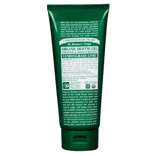 Dr Bronner Org Lemongrass  and Lime Shaving Soap Gel 208ml