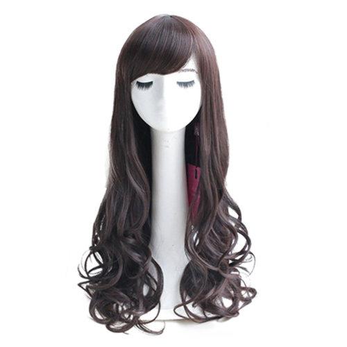 Dark Brown Long Curly Wavy Glamour Hair Wig Fashion Bob + Wig Cap + Wig Comb