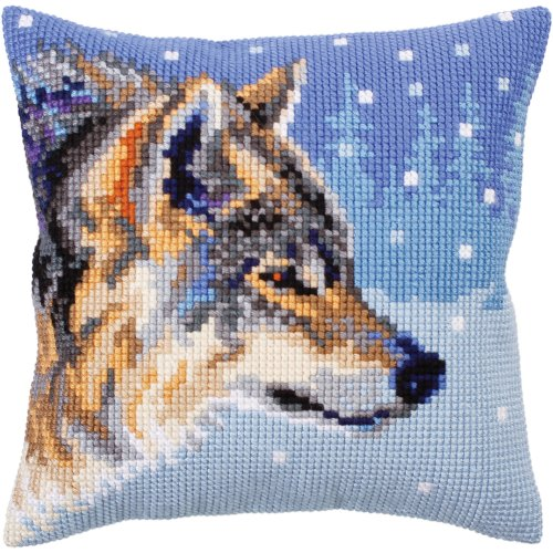 Collection D'art Stamped Needlepoint Cushion Kit 40X40cm-Winter Animals/Wolf