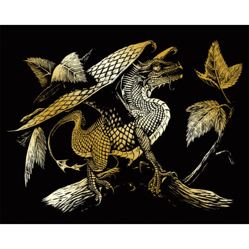 "Gold Foil Engraving Art Kit 8""X10""-Baby Dragon"