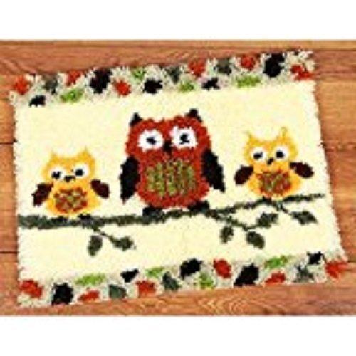 "Latch Hook Rug Kit""Three Owls on a Branch"" 52x38cm"