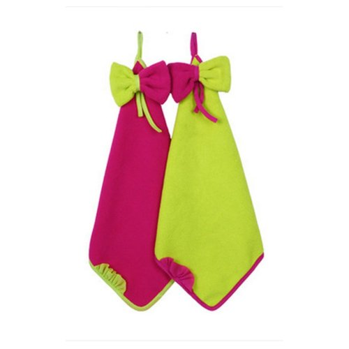Set Of 2 Bowknot Vivid Hand Towel For Kitchen&Bathroom&Toilet 33x33cm
