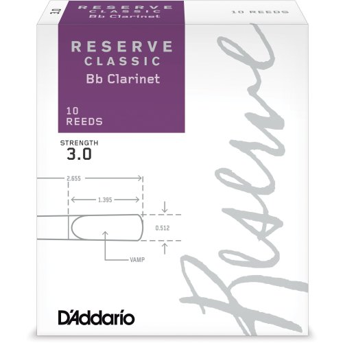 D'Addario DCT1030 Strength 3.0 Reserve Classic Bb Clarinet Reeds (Pack of 10)