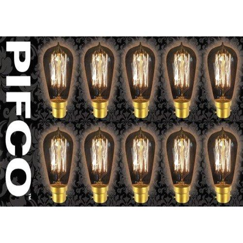 10 X PIFCO ST58 40 Watt B22 Bayonet Vintage Squirrel Cage Retro Light Bulbs