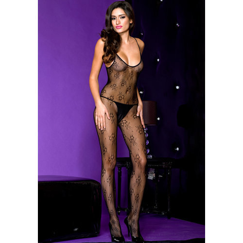 Crotchless bodystocking with spaghetti straps  Ladies Lingerie Cat suits - Music Legs