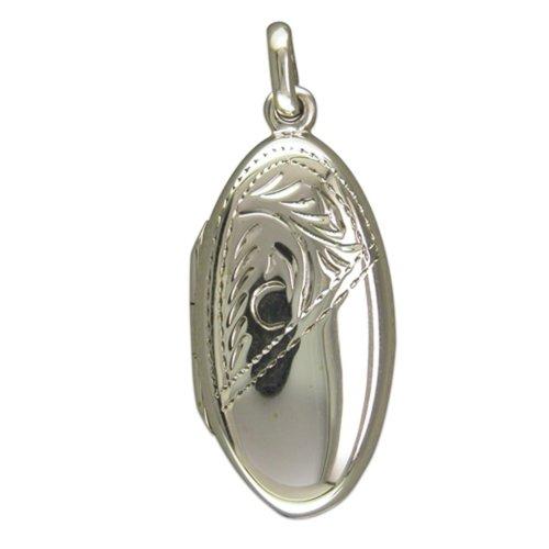Sterling Silver Half Engraved Long Oval Locket On A Snake Necklace