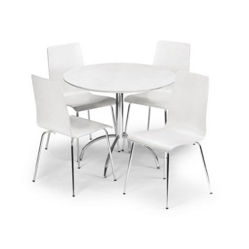 Mardy Dining Kitchen Table and White Chairs Set/ Chrome White Lacquer