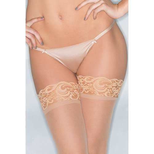 Basic Thong With Bows - Nude XL Ladies Lingerie Thongs - Be Wicked