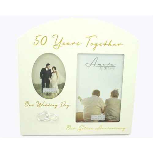"Amore Golden 50th Anniversary Wedding Gifts Then & Now Photo Frame - 6""x4"""