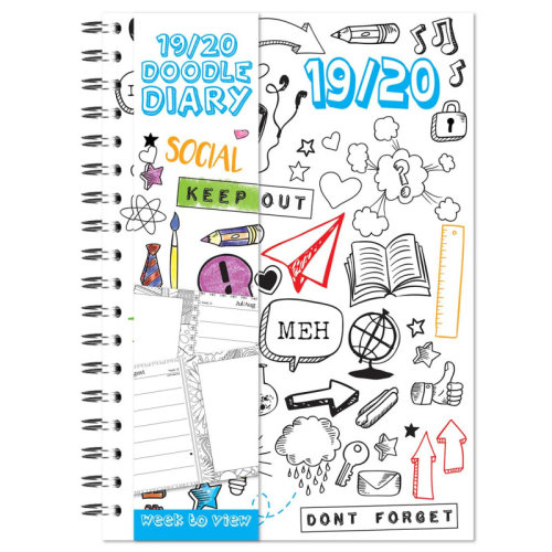 2019 - 2020 A5 Academic Diary Week to View Colour Your Own Mid Year Planner WTV W2V DIY Doodle