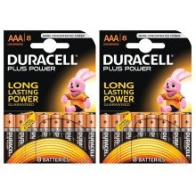 16 x Duracell Plus Power MN2400 AAA Batteries Long-Dated