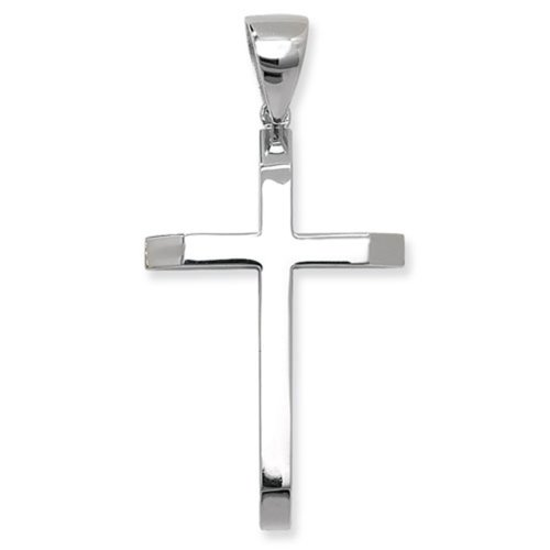 Sterling Silver Large Plain Cross Pendant On A Snake Necklace