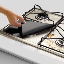 4PCS Kitchen Reusable Aluminum Foil Gas Stove Burner Cover Protector Liner Clean Mat Pad