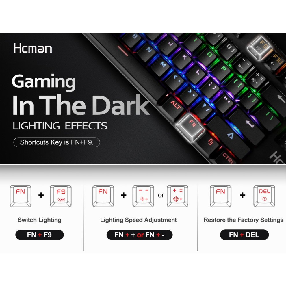 57be4d2c8ab ... Mechanical Gaming Keyboard LED Backlit - Hcman Wired Keyboard Blue  Switches 9 Backlight Modes,Metal ...