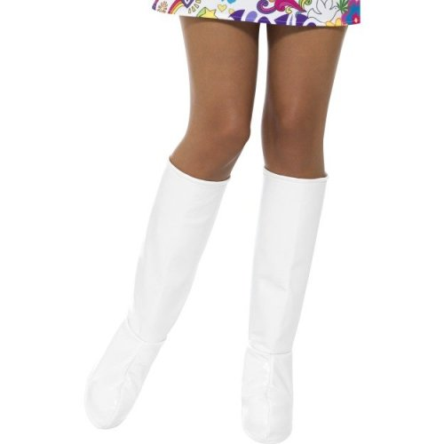 White Gogo Boot Covers -  womens ladies boot 60s fancy dress gogo covers hippie adults 70s hippy outfit accessory