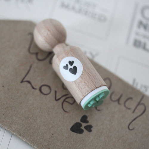Luck & Luck 3 Hearts Very Mini Rubber Stamp