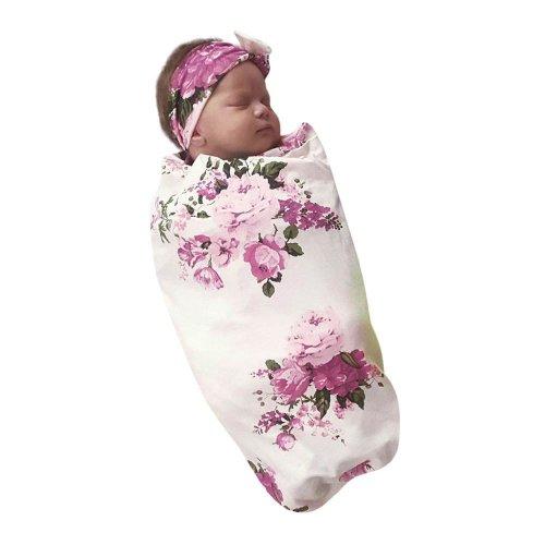 2017 Newborn Infant Baby Towel Swaddle Blanket Baby Sleeping Swaddle Muslin Wrap Headband Set