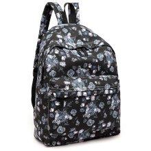 KONO Women Black Flower Backpack Girls Canvas School Bag