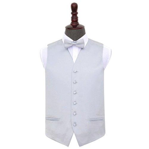 Silver Plain Satin Wedding Waistcoat & Bow Tie Set 42'