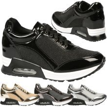 Pepper Womens Mid Hidden Wedge Heels Lace Up Shimmer Trainers