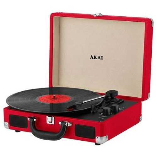 Akai A60011NR Bluetooth Rechargeable Vinyl Turntable Briefcase Style Featuring Bluetooth Connectivity - Red