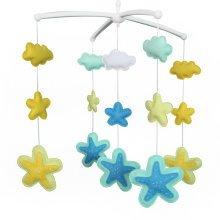 [Beautiful Stars]Handmade Baby Crib Mobile, Hanging Music Bed Bell, Pretty Gift