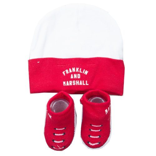 Franklin & Marshall Infant Baby Todder Hat & Bootie Set (0-6 Months) - Red/White