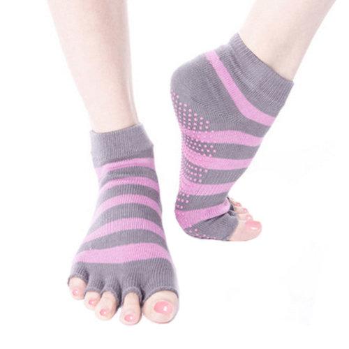 Grey Pink Women's Non Slip Yoga Socks Strong Grip Cotton Toeless Socks