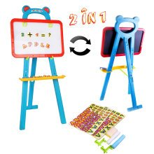 deAO Toys Kids' 3-in-1 Learning Easel | Whiteboard & Chalkboard Set