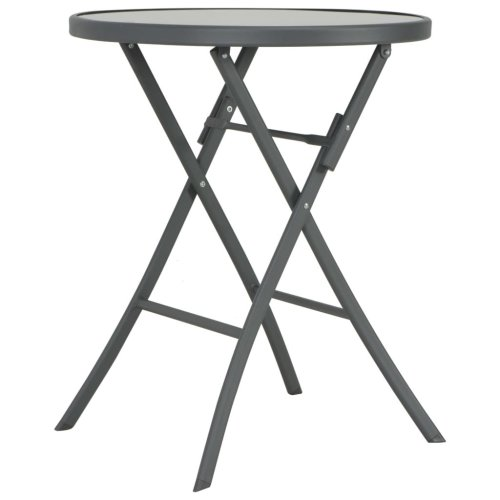 vidaXL Folding Outdoor Bistro Table 60x70 cm Glass and Steel