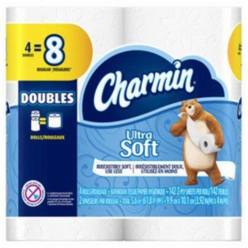 Procter & Gamble 13258 Charmin Ultra Soft Toilet Paper Double Roll, 4 Count - Case of 12