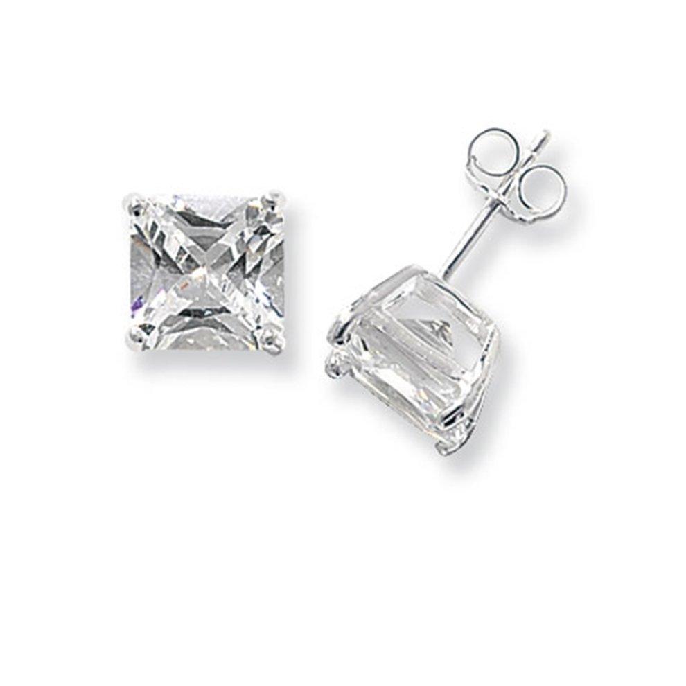 cb6949cebf935 Sterling Silver 9MM Cubic Zirconia Square Stud Earrings