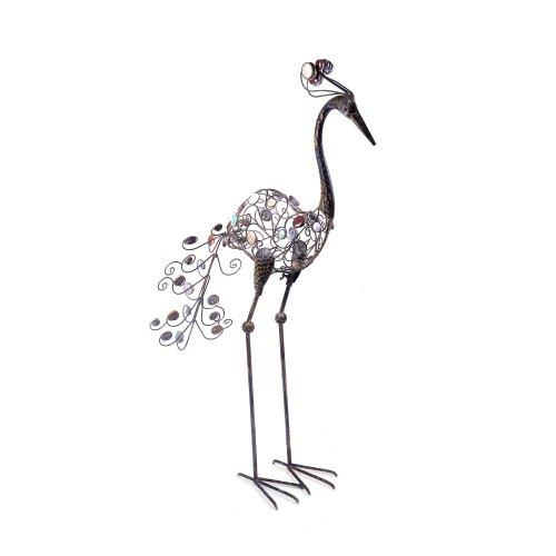 Forward Facing Decorative Stone & Vintage Finish Metal Peacock Ornament