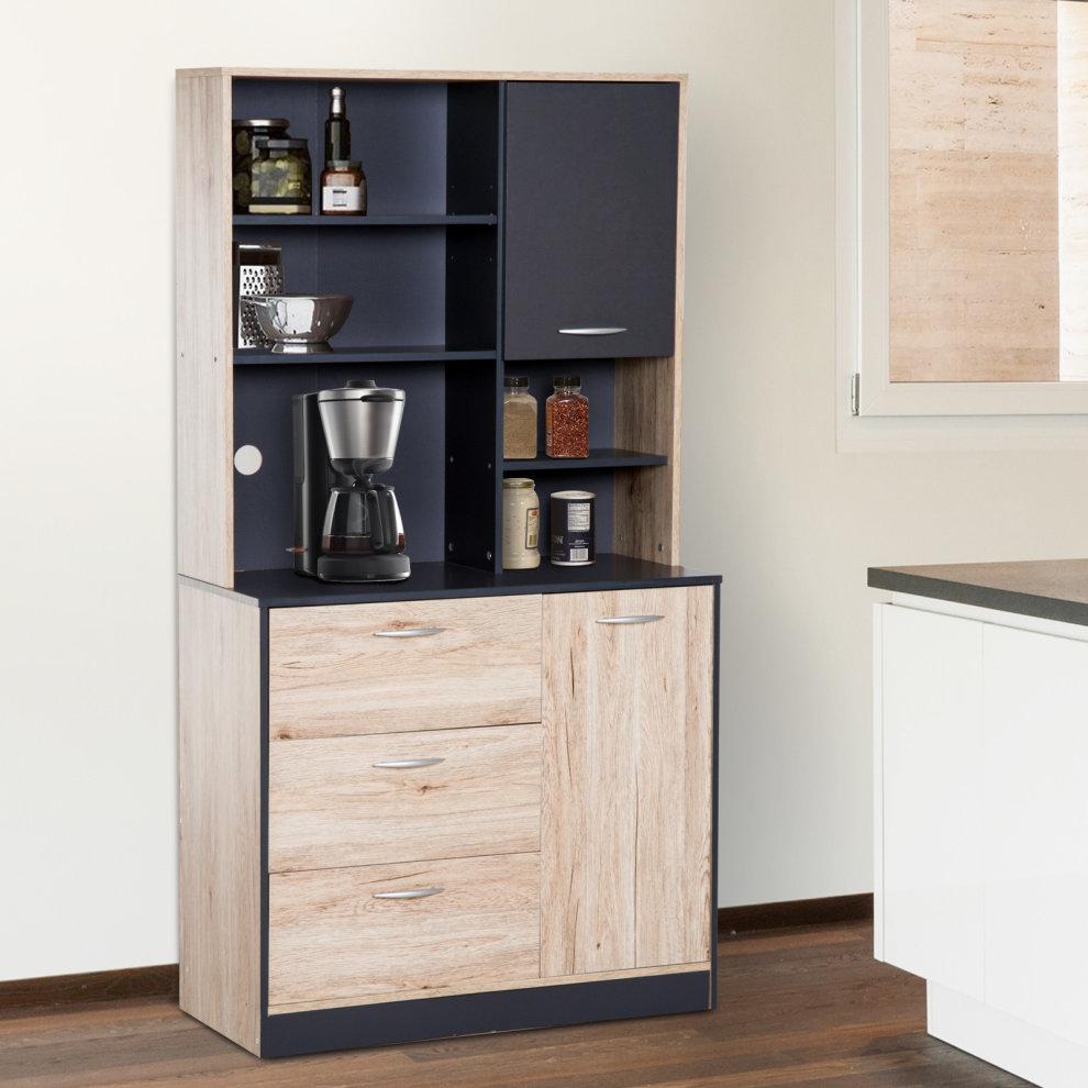 HOMCOM Wooden Freestanding Kitchen Multi Purpose Storage ...