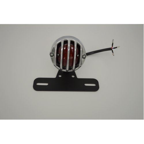 Classic Prison Grille Motorcycle Motorbike LED Stop Tail Light Polished Aluminium