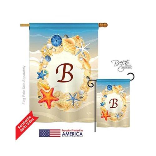 Breeze Decor 30158 Summer B Monogram 2-Sided Vertical Impression House Flag - 28 x 40 in.