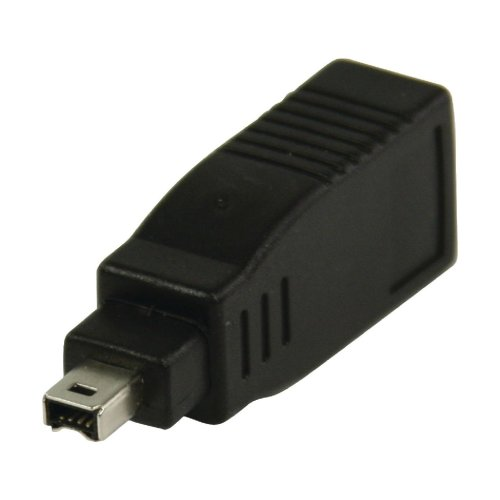 FireWire 400 Adapter 4-Pin Male 6-Pin Female Black Converter Apple G5