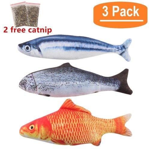 BINGPET 3 PCS Catnip Fish Cat Toy Interactive Soft Plush Pillow Chew Bite Kick Supplies for Indoor Kitten