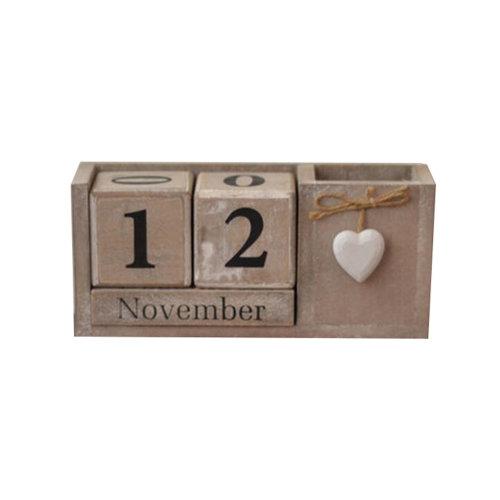 Wooden Permanent Calendar Creative Calendar Decoration For Home / Office -A12