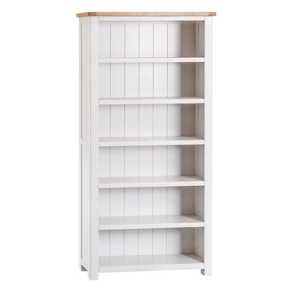 White Painted Oak Large Bookcase On