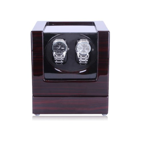 HiPai Automatic Double Watch Winder with Quiet Motor 5 Rotation Modes - Black Ebony Wooden Box