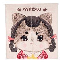 85X90 CM Ramie Cotton Fabric Door Curtain Bedroom Curtain Cat