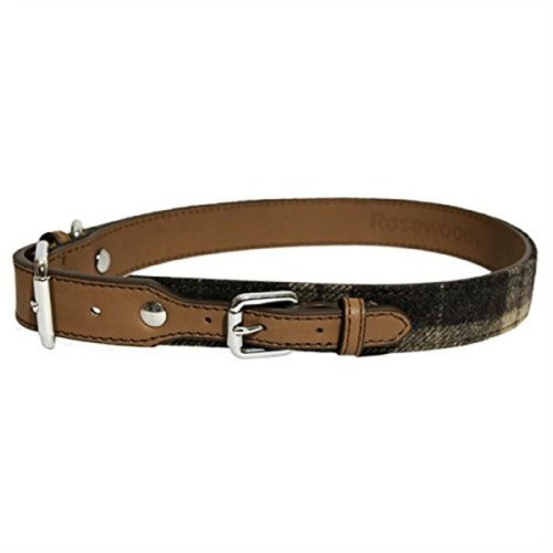 Rosewood Luxury Leather Dog Collar 8 - 12-inch, Tweed Check