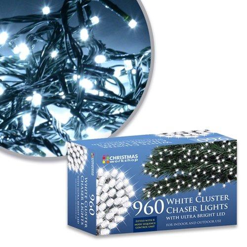 The Christmas Workshop 960 LED Chaser Cluster String Lights, Bright White