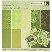 K & Co Paper Pad: Sheer S Implicity 12x12 Green Designer -  sheer simplicity designer paper pad 60 12x12 sheetsgreen 30cm