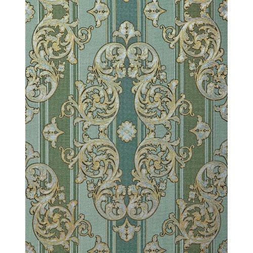 EDEM 580-35 Baroque-wallpaper metallic effect pine-green gold 5.33 sqm (57 ft2)