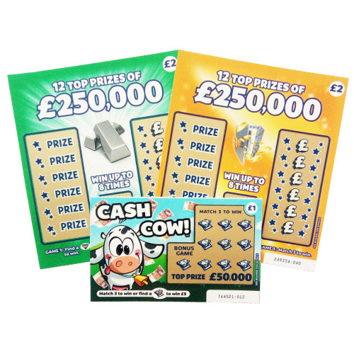 9 Mixed Joke Fake Scratch Cards - Win £50K - Christmas Card Favourites