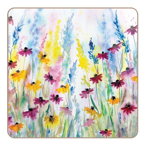 iSTYLE I Style Daisy Field Coasters, Cork, Multi-Colour, Set of 4